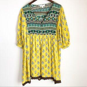 Umgee unique pattern long sleeve dress boho style